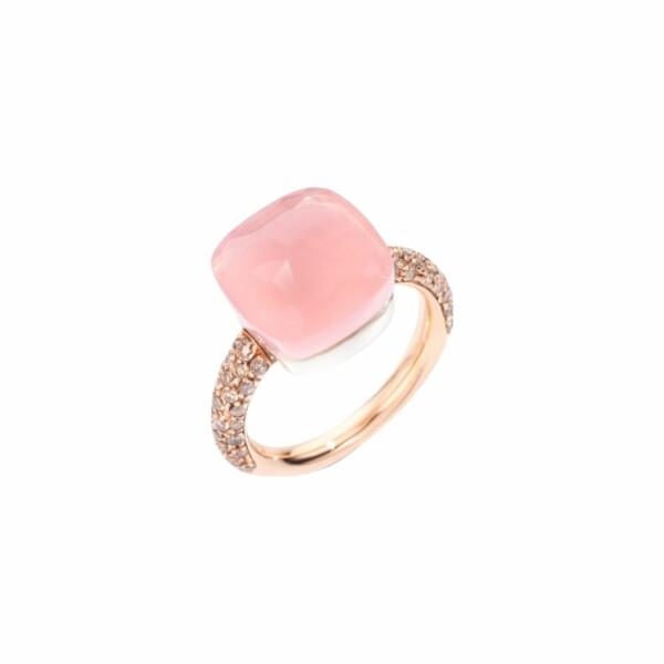 Bague Pomellato Nudo Quarzo Rosa Maxi en or rose, or blanc, diamants marrons, calcédoine et quartz rose