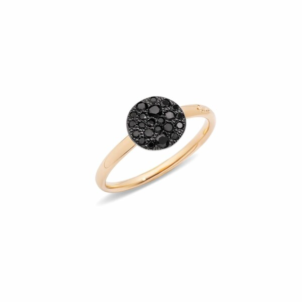 Bague Pomellato Sabbia petit modèle en or rose et diamants noirs