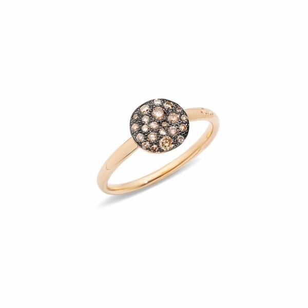 Bague Pomellato Sabbia petit modèle en Or rose et Diamant brun