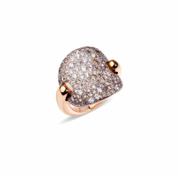 Bague Pomellato Sabbia en or rose et diamants bruns, diamants blancs