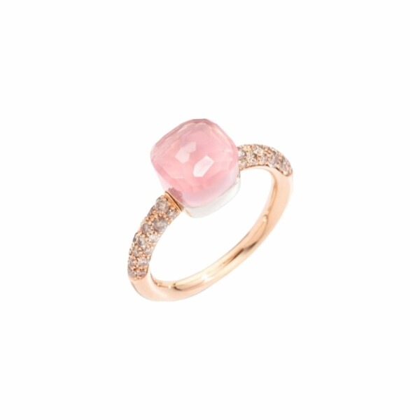 Bague Pomellato Nudo Quarzo Rosa Petit Modèle en or rose, diamants marrons, calcédoine et quartz rose