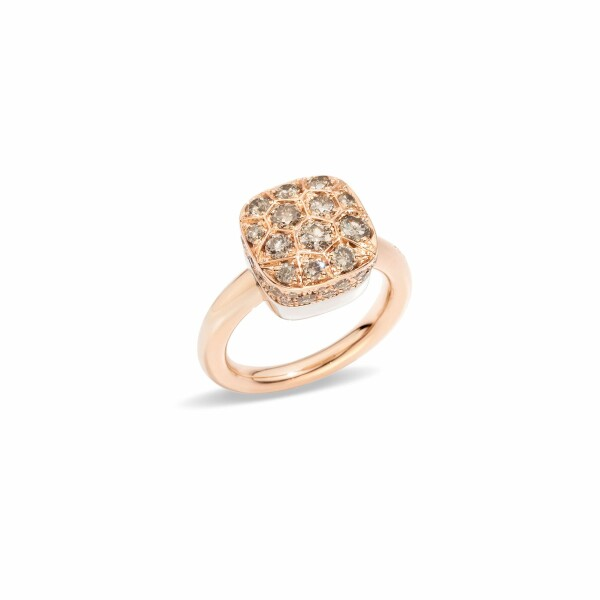 Bague Pomellato Luna en or rose, or blanc et diamants marrons