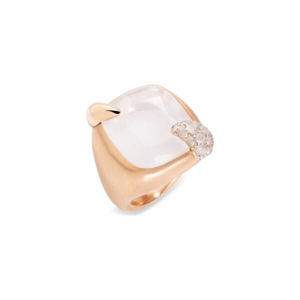 Bague Pomellato Ritratto en or rose, or blanc, quartz blanc Milky et diamants Icy