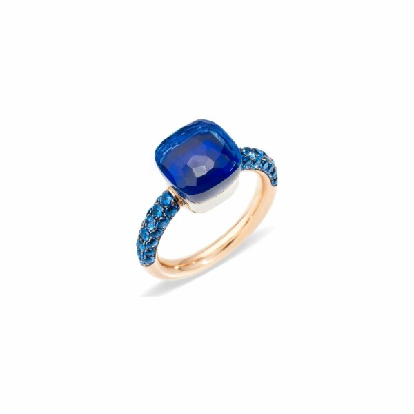 Bague Pomellato Nudo en or rose, lapis lazuli, topazes et topaze Blue London