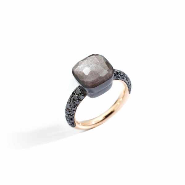 Bague Pomellato Nudo en or rose, titane, obsidienne et diamants noirs