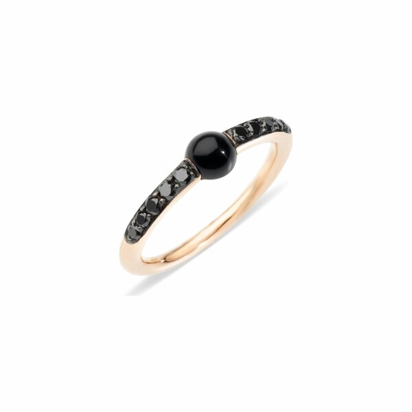 Bague Pomellato M'ama Non M'ama en or rose, onyx et diamants noirs
