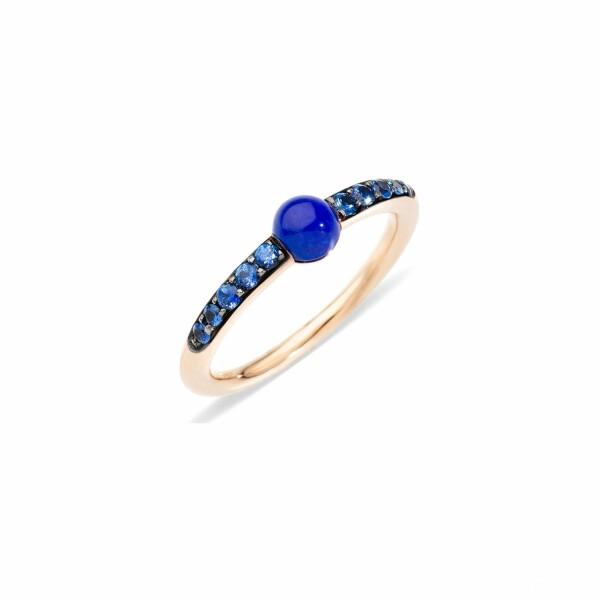 Bague Pomellato M'ama Non M'ama en or rose, lapis lazuli et saphirs bleus