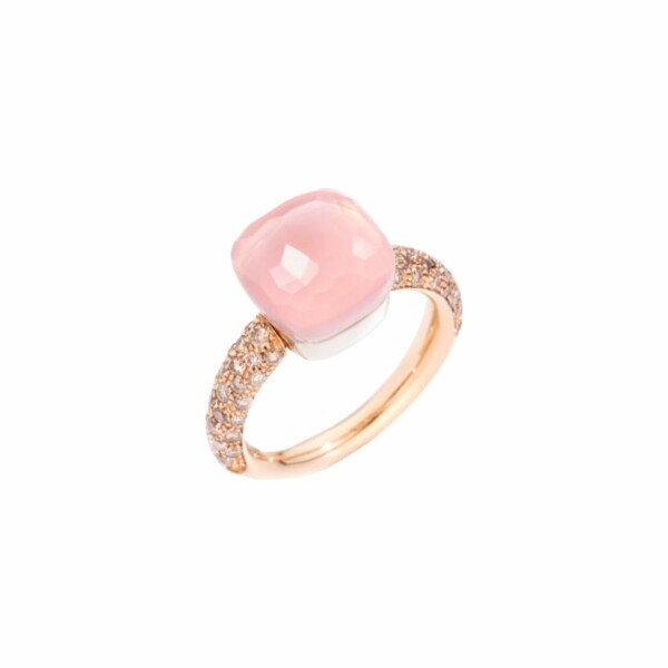 Bague Pomellato Nudo Quarzo Rosa en or rose, or blanc, diamants marrons, calcédoine et quartz rose