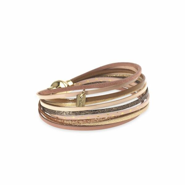 Bracelet Flowersforzoé en cuir et plaqué or jaune