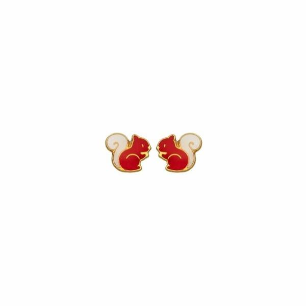 Boucles d'oreilles Ecureuil en or jaune et laque