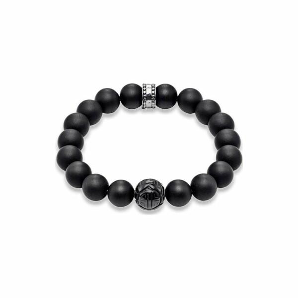 Bracelet Thomas Sabo Rebel at heart Obsidienne en argent taille L (19 cm)
