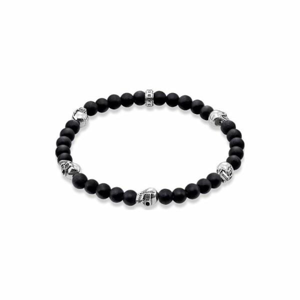 Bracelet Thomas Sabo Rebel at heart Tête de mort en argent et obsidienne L (19 cm)