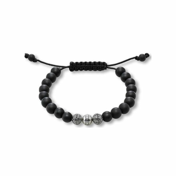 Bracelet Thomas Sabo Rebel at heart Croix en argent et obsidienne M (15 - 21 cm)