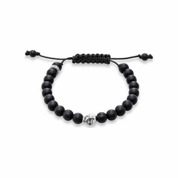 Bracelet Thomas Sabo Rebel at heart Tête de mort en argent et obsidienne M (15 - 21 cm)