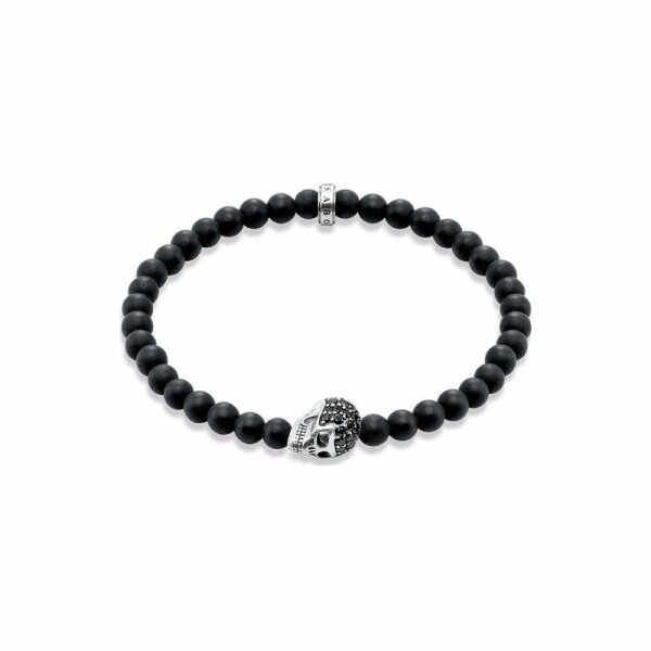 Bracelet Thomas Sabo Rebel at heart en argent et pavé d'oxydes de zirconium noirs, obsidienne amatie L (19 cm)