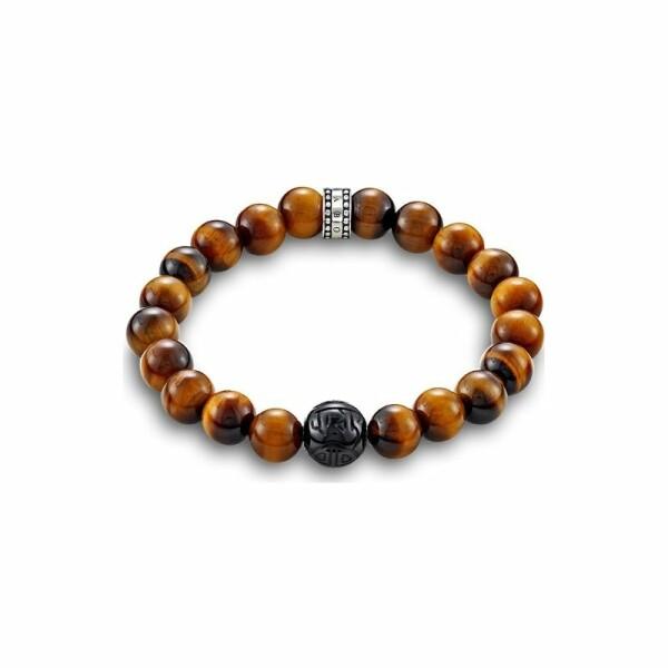 Bracelet Thomas Sabo Rebel at heart Marron en argent, obsidienne et oeil de tigre taille L (19cm) L (19 cm)