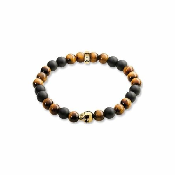 Bracelet Thomas Sabo Rebel at heart Tête de mort marron en argent, obsidienne et oeil de tigre L (19 cm)