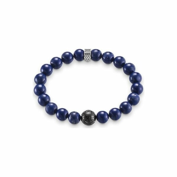 Bracelet Thomas Sabo Rebel at heart Royal Blue en argent, lapis-lazuli, obsidienne et oxydes de zirconium noirs