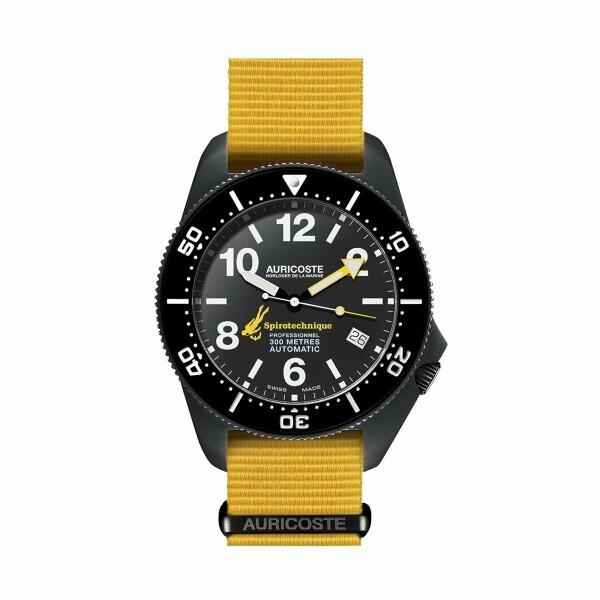 Coffret de montre Auricoste Spirotechnique 300M Black DLC Cadran Chiffres