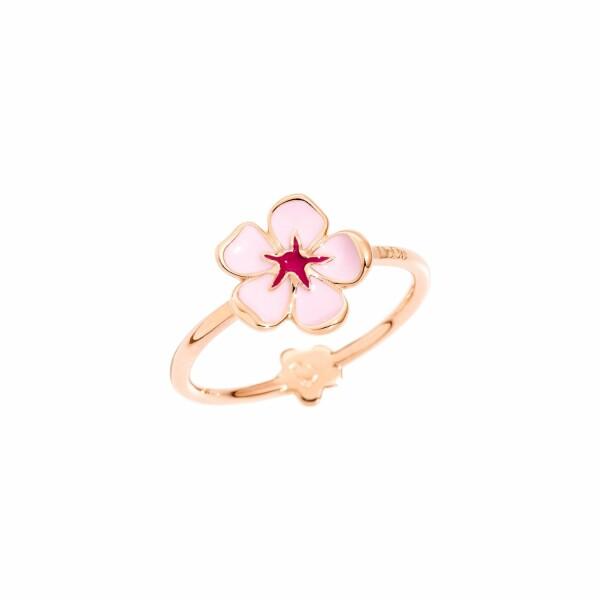 Bague DoDo Nature Fleur De Cerisier en or rose et émail, taille 53