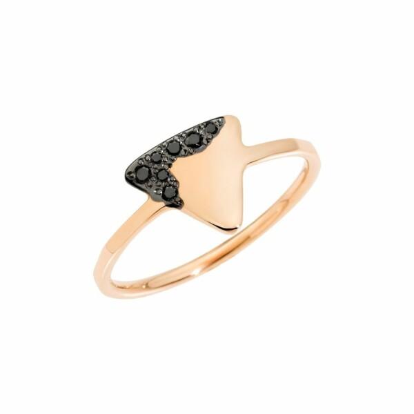 Bague DoDo Precious Tag en or rose et diamants noirs