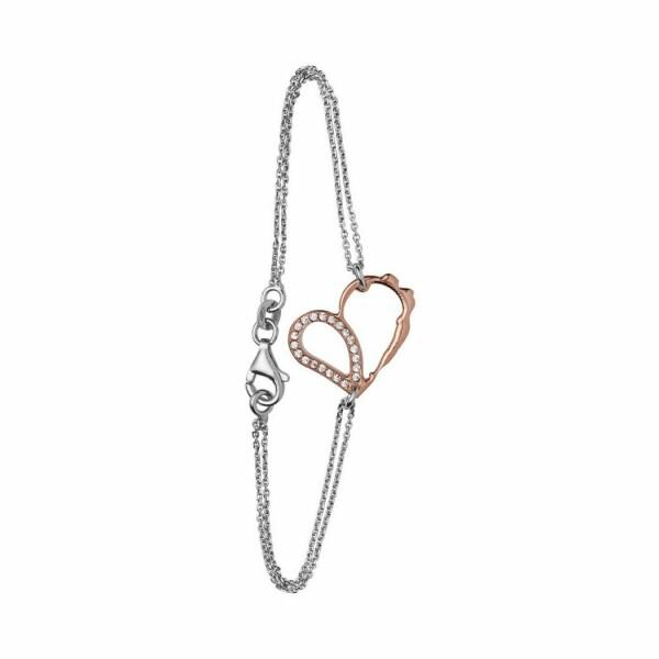 Bracelet Jourdan Bijoux Aphrodite en argent, plaqué or rose et oxyde de zirconium