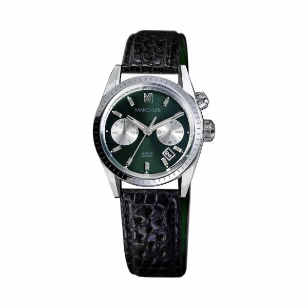 Montre March L.A.B Agenda Automatic - Forest - Bracelet en alligator perforé noir