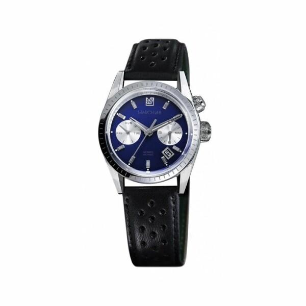 Montre March L.A.B Agenda Automatic - Ocean - Bracelet Harrisson perforé noir