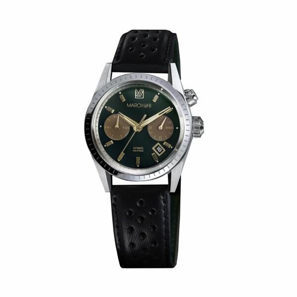 Montre March L.A.B Agenda Automatic Private Emerald- Bracelet en harrisson noir perforé