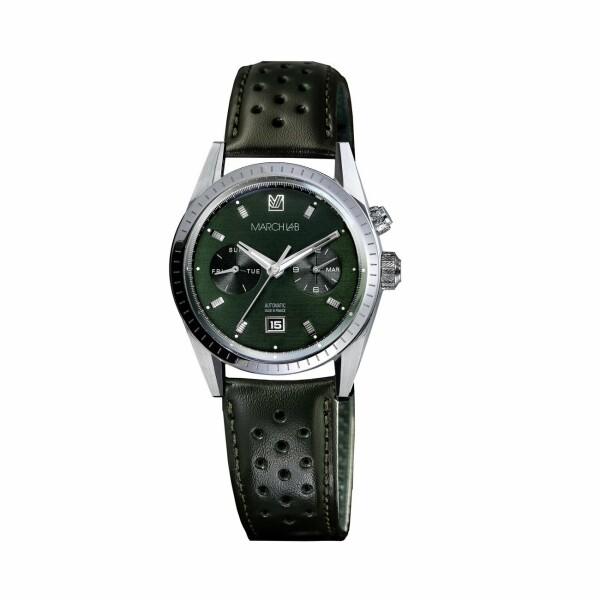 Montre March L.A.B Agenda SUPRA Automatic Grall - Bracelet en cuir harrisson vert perforé
