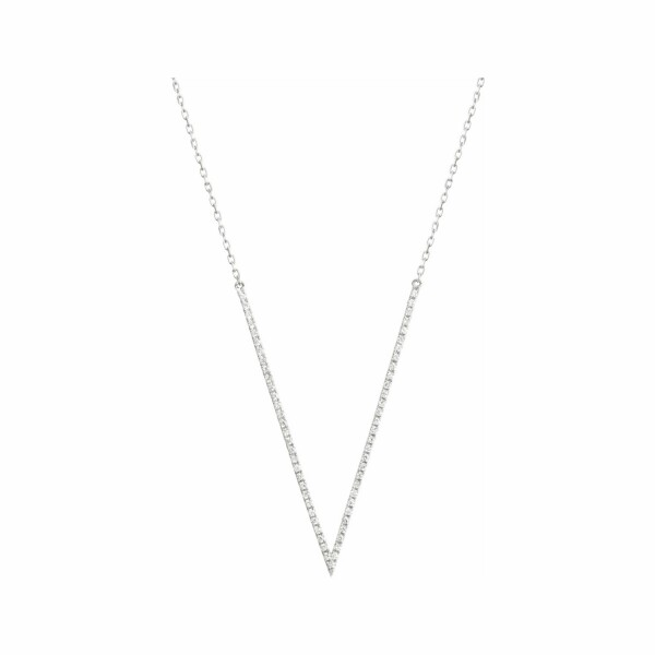 Collier Djula Grand V en or blanc et diamants