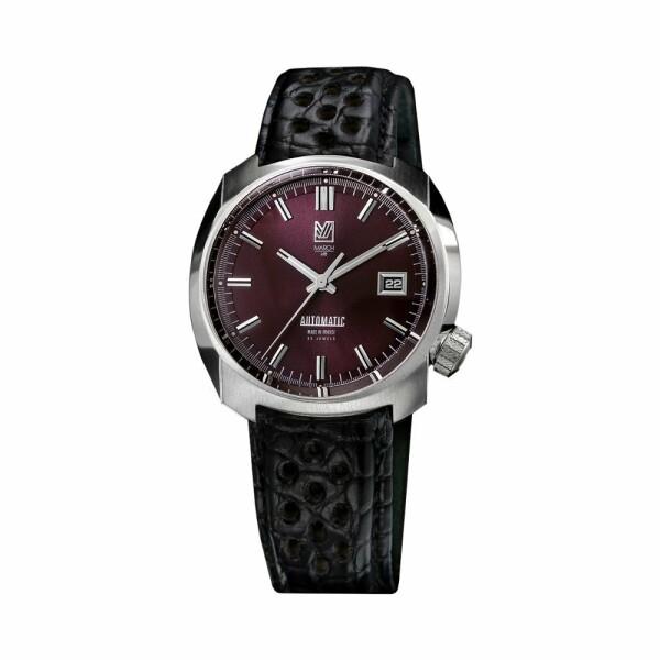 Montre March L.A.B AM1 Automatic Bordeaux - Bracelet en alligator perforé noir