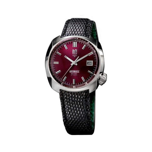 Montre March L.A.B AM1 Automatic Bordeaux - Bracelet en lézard noir