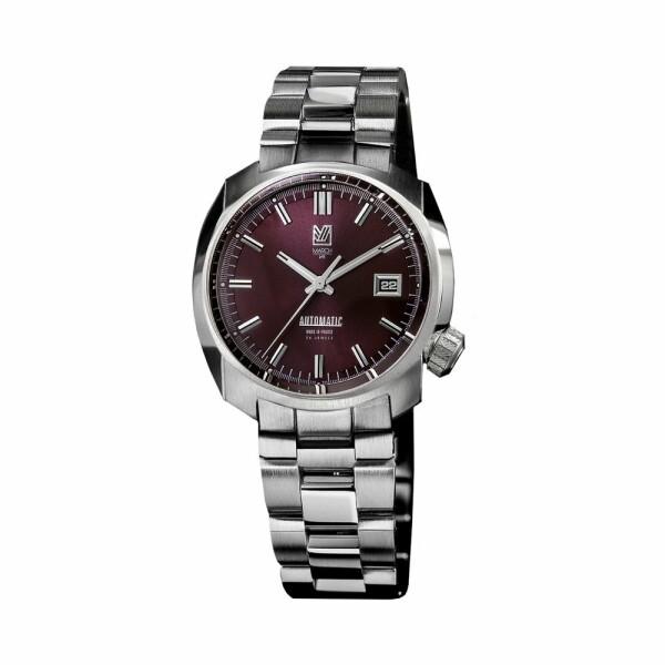 Montre March L.A.B AM1 Automatic Bordeaux - Bracelet en acier 3 maillons