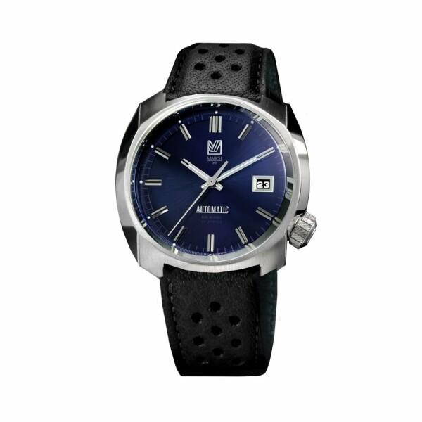 Montre March L.A.B AM1 Automatic - Navy - Bracelet en buffle perforé noir