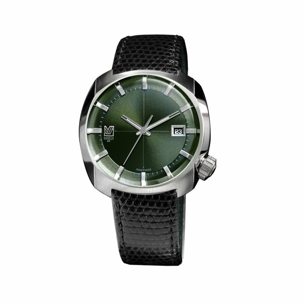 Montre March Lab AM1 Evergreen Electric - Bracelet cuir noir façon lézard