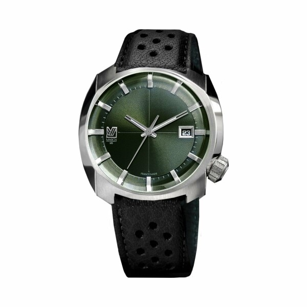 Montre March L.A.B AM1 Electric - Evergreen - Bracelet en buffle perforé noir