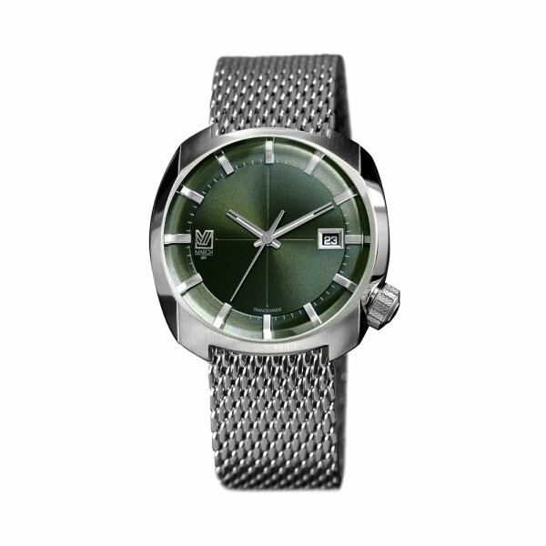 Montre March L.A.B AM1 Electric - Evergreen - silver mesh band