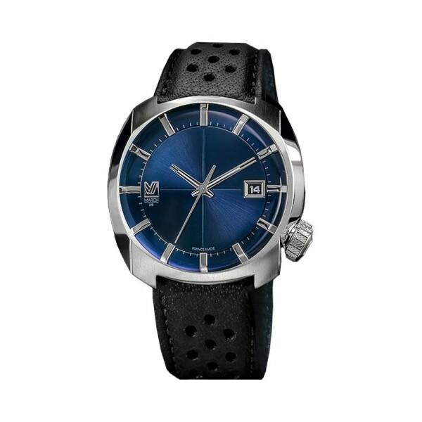 Montre March L.A.B AM1 Electric Ocean - Bracelet en buffle perfore noir