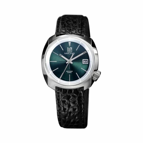 Montre March L.A.B AM1 Slim Automatic - Forest - Bracelet en alligator perforé noir