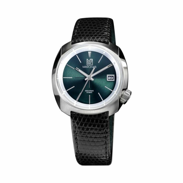 Montre March L.A.B AM1 Slim Automatic - Forest - Bracelet en Lézard noir