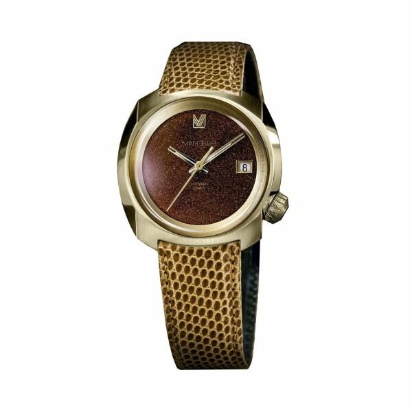 Montre March L.A.B AM1 Slim Electric Brown Goldstone - Bracelet en Lézard marron