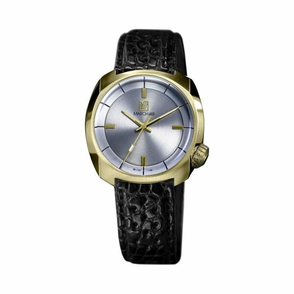 Montre March L.A.B AM1 Slim Electric - Continental - Bracelet en alligator perforé noir