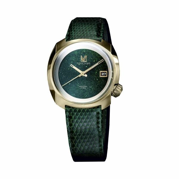 Montre March L.A.B AM1 Slim Electric Green Sandstone - Bracelet en Lézard vert