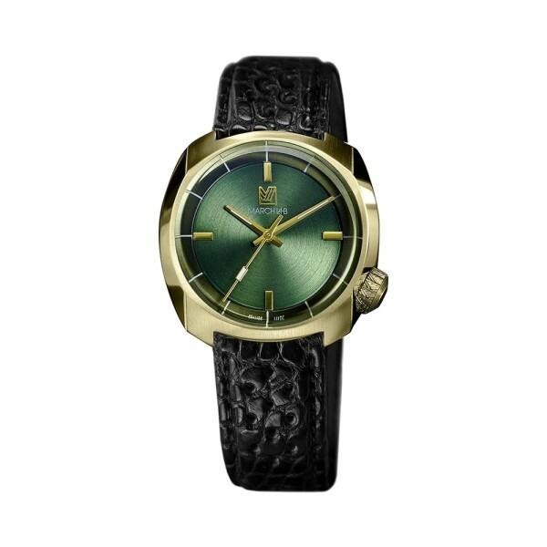 Montre March L.A.B AM1 Slim Electric - Sweet Green - Bracelet en alligator perforé noir