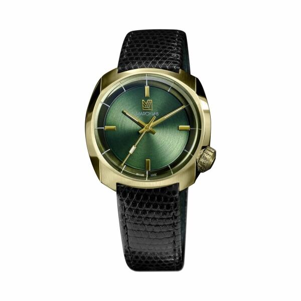 Montre March L.A.B AM1 Slim Electric - Sweet Green - Bracelet en lézard noir