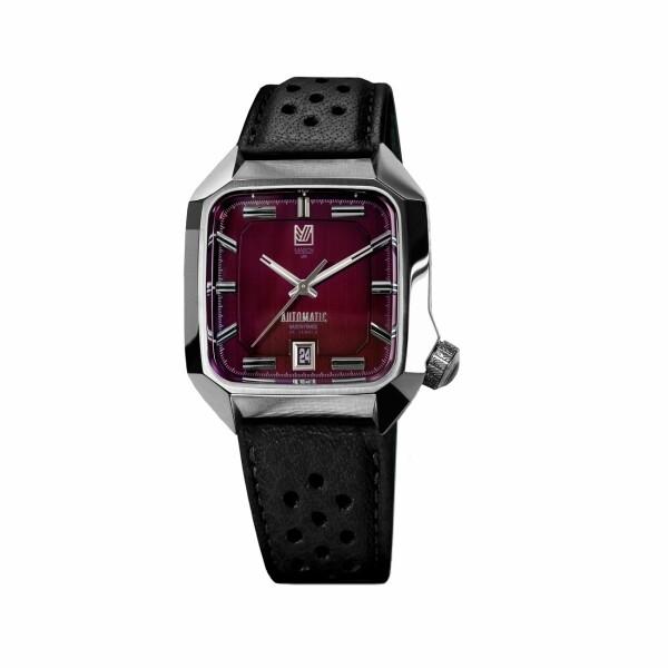 Montre March L.A.B AM2 Automatic Bordeaux - Bracelet en buffle perforé noir