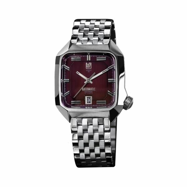 Montre March L.A.B AM2 Automatic Bordeaux - Bracelet en acier 7 maillons