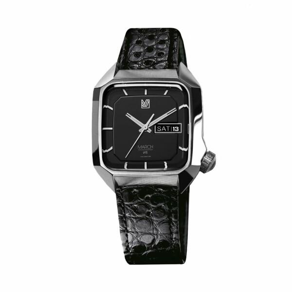 Montre March L.A.B AM2 Electric Black - Bracelet en alligator noir perforé