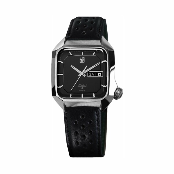 Montre March L.A.B AM2 Electric Black - Bracelet en buffle perforé noir